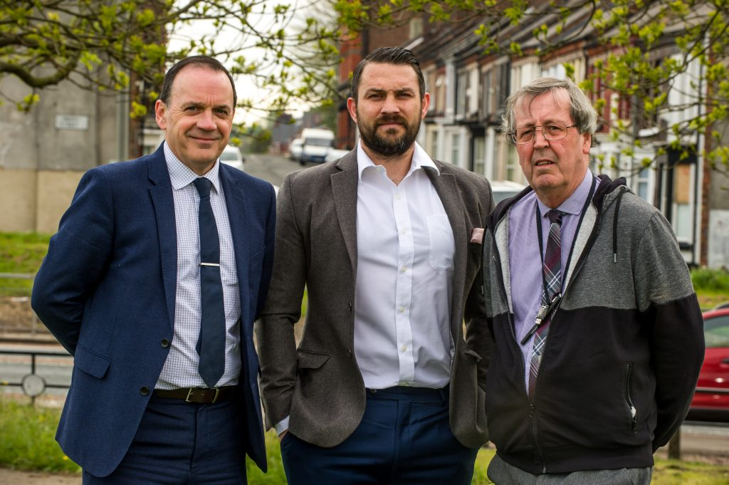 L-R Mark Kitts, Liverpool Foundation Homes; Paul Smith; Cllr Joe Hanson, ward councillor for Kirkdale